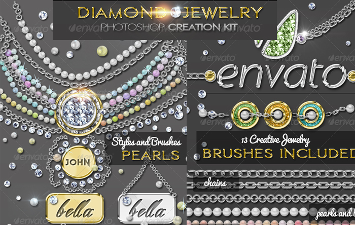 Gold Diamonds and Pearls Jewelry Photoshop Creator