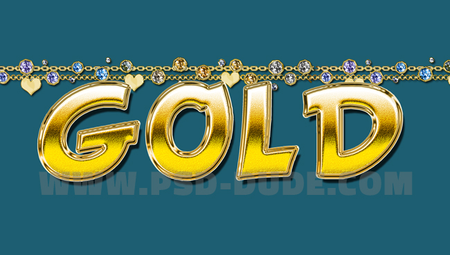 photoshop gold necklace text style