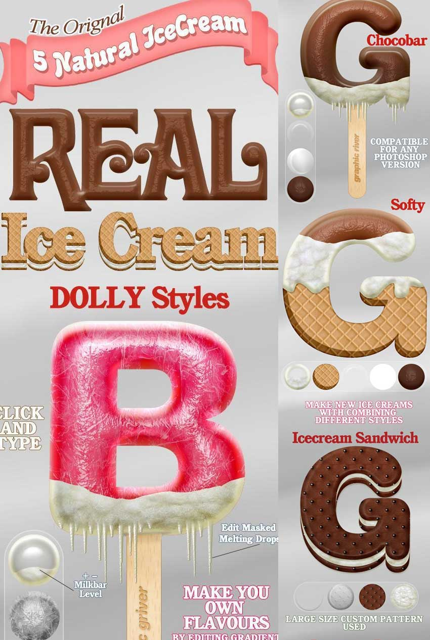 5 Real Ice cream Styles for Photoshop