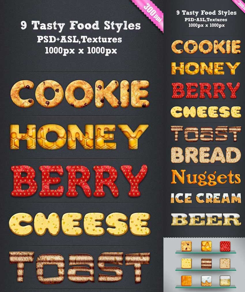 9 Tasty Food Photoshop Styles