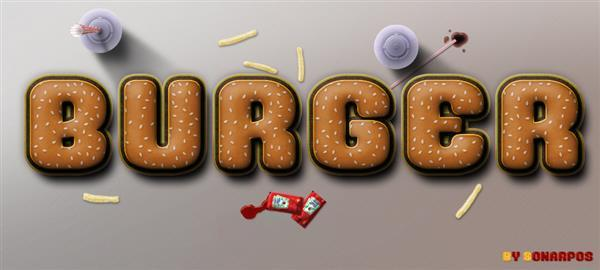 Free Burger Photoshop Text Effect