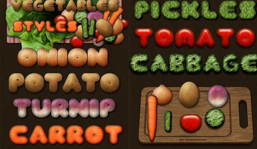 Vegetables Photoshop Styles Freebie