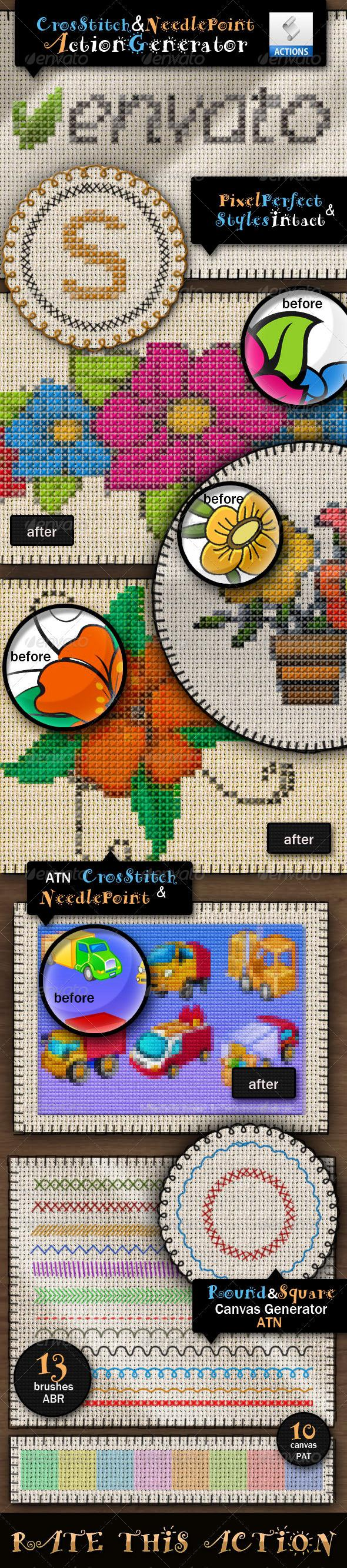 Cross Stitch Photoshop Action and Stitch Brushes
