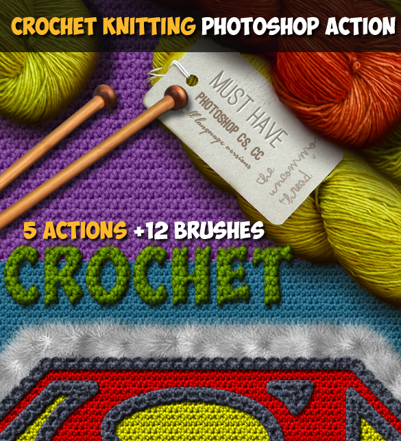 Crochet Knitting Effect Photoshop Action