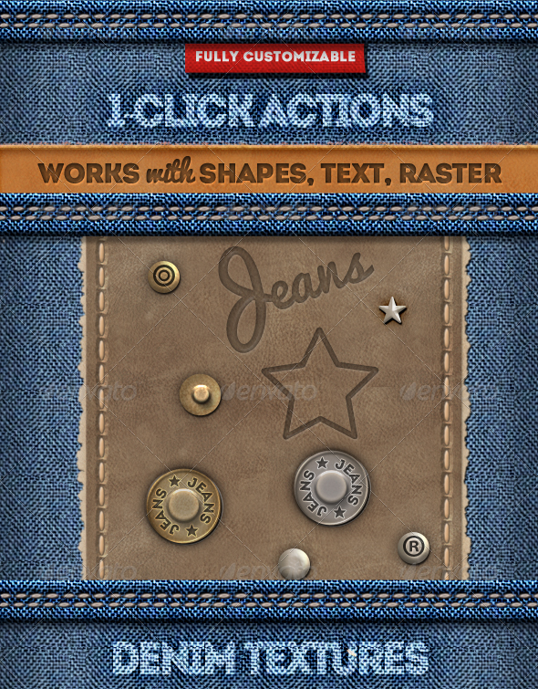 Stitched Leather and Jeans Label Photoshop Action