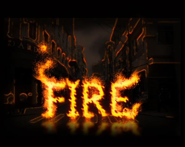 Create a fire text in photoshop using actions
