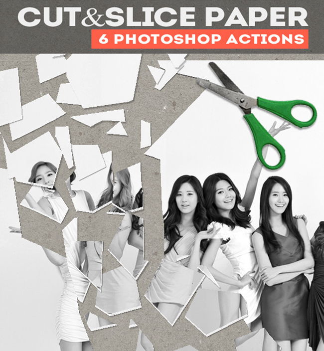 Cut and Slice Paper Photoshop Actions