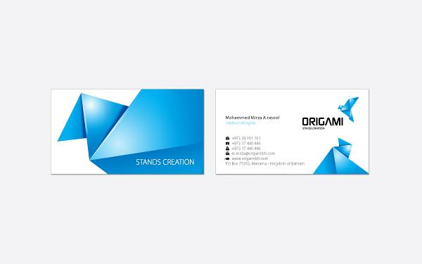 Origami Business card photoshop resource collected by psd-dude.com from Behance Network