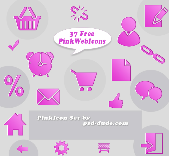 Pink Icon Set by psd-dude photoshop resource made by psd-dude.com
