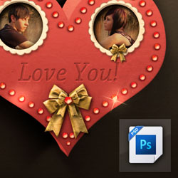 3D Heart Photo Frame PSD Layered Tutorial psd-dude.com Resources