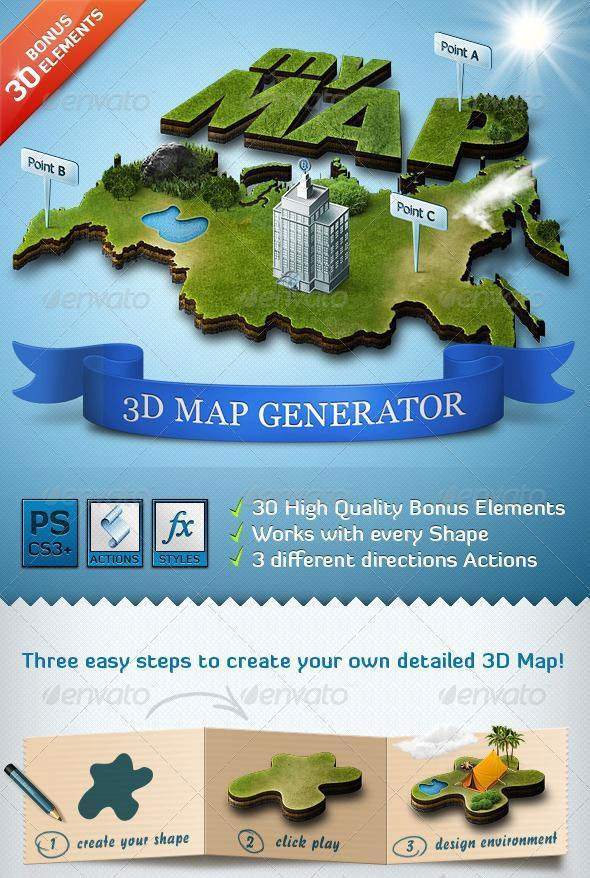 3d map photoshop creator premium files psddude 3d map photoshop action generator gumiabroncs Gallery