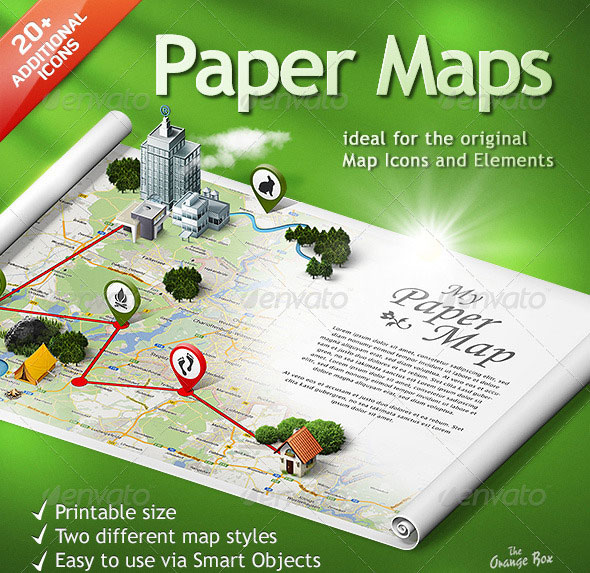 3D Map Photoshop Paper Template