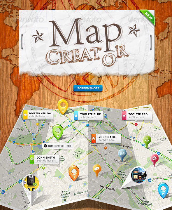 Folded Paper Map Photoshop Creator<