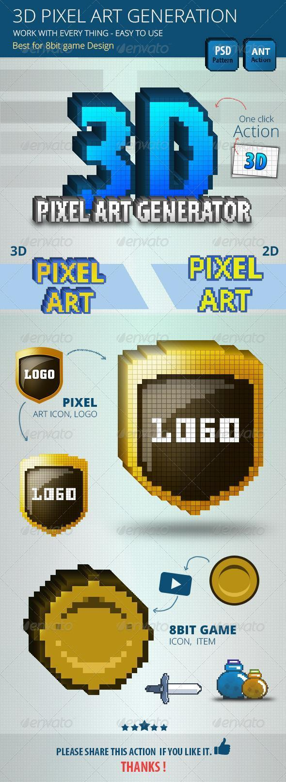 3D Pixel Art Photoshop Action Generator