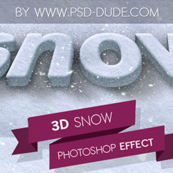 3D Snow Photoshop Style with Free PSD psd-dude.com Resources