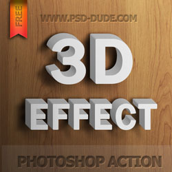Free 3D Text Photoshop Action psd-dude.com Resources