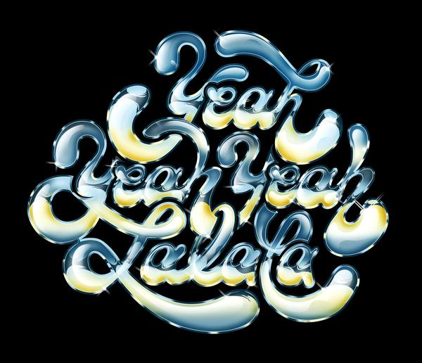 Glossy letterings by  photoshop resource collected by psd-dude.com from Behance Network