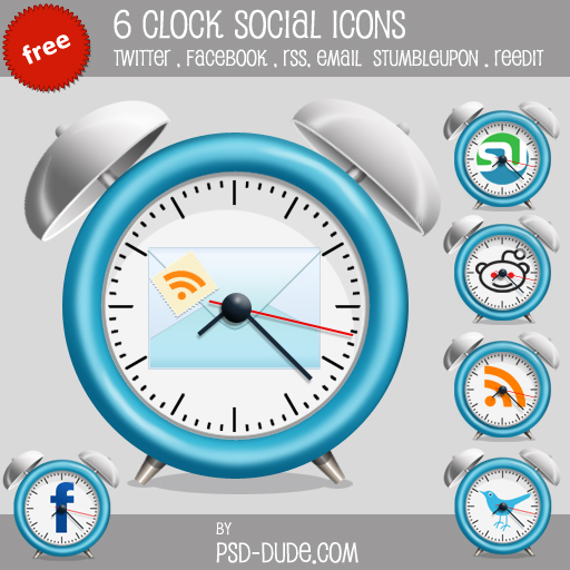 Free Clock Social Icon Pack - photoshop resource by psd-dude.com