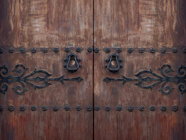 Antique wood front door texture