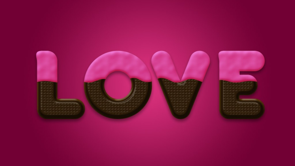 Love Chocolate Text in Photoshop for Valentine Day