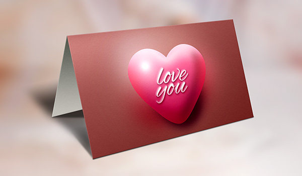 Valentines Day Greeting Card PSD Mockup