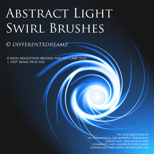 Abstract Light Swirl Brushes by differentxdreamz photoshop resource collected by psd-dude.com from deviantart
