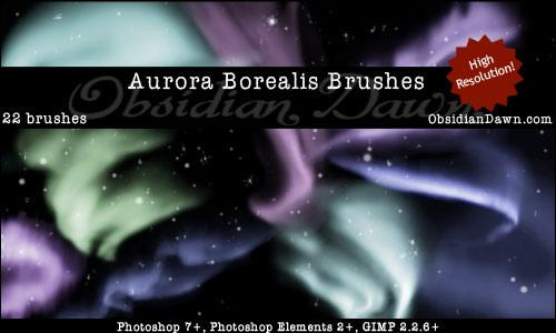 Aurora Borealis Brushes by redheadstock photoshop resource collected by psd-dude.com from deviantart