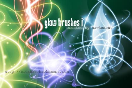 Glow Brushes I by hawksmont photoshop resource collected by psd-dude.com from deviantart