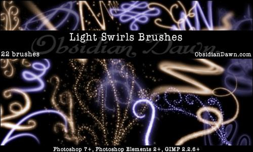 Light Swirls Brushes by redheadstock photoshop resource collected by psd-dude.com from deviantart