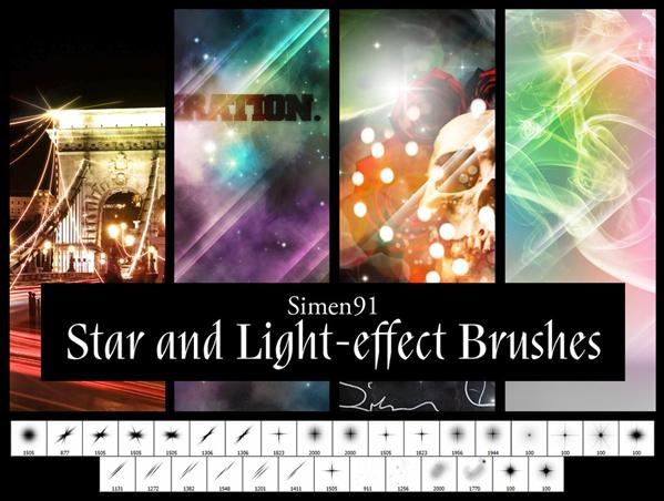 Star and Lighteffect Brushes by simen91 photoshop resource collected by psd-dude.com from deviantart