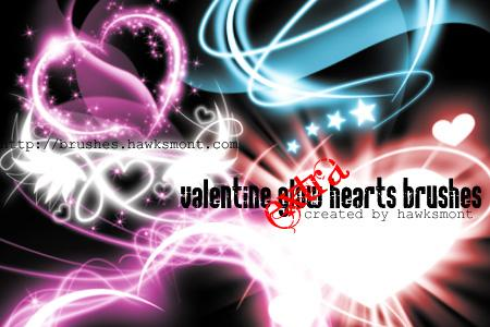 Valentine Glow Hearts by hawksmont photoshop resource collected by psd-dude.com from deviantart