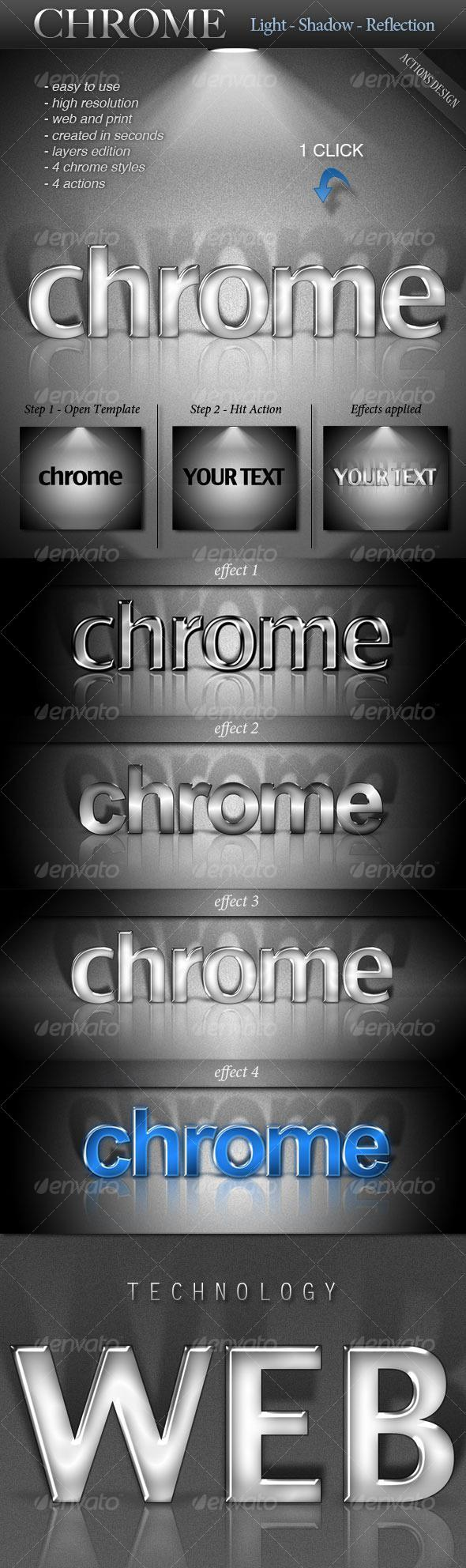 Chrome Text Light Shadow Reflection Photoshop Action