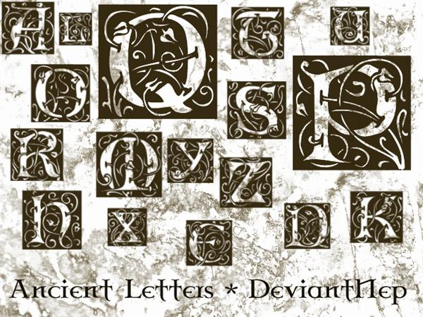Ancient Letters Brushes by DeviantNep photoshop resource collected by psd-dude.com from deviantart