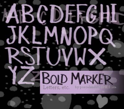 BOLD MARKER letters by porcelainBRUSHES photoshop resource collected by psd-dude.com from deviantart