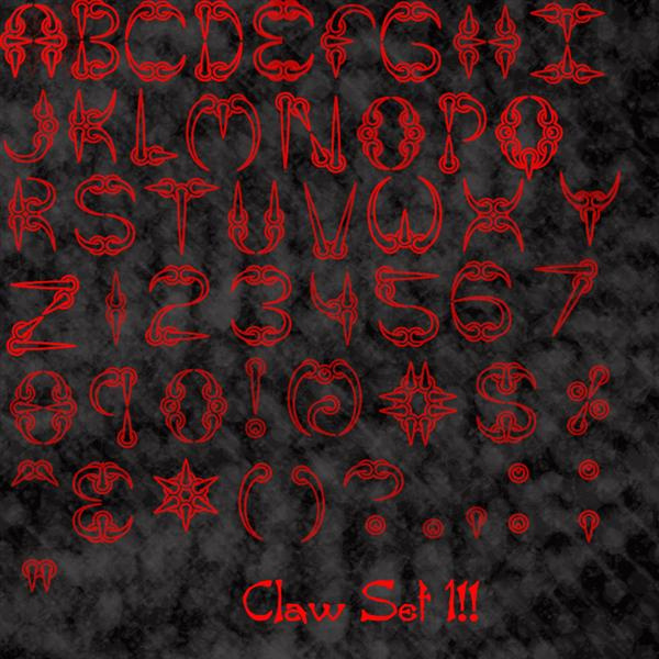 Claw Font Brushes by Vampire-Maiden photoshop resource collected by psd-dude.com from deviantart