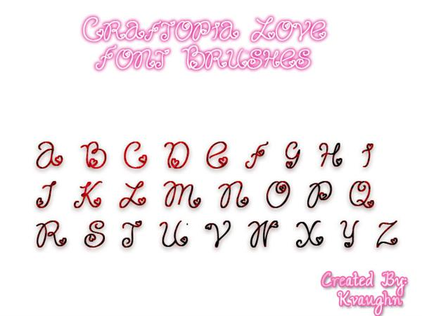 Craftopia Love Font Brushes by kvaughnp3 photoshop resource collected by psd-dude.com from deviantart