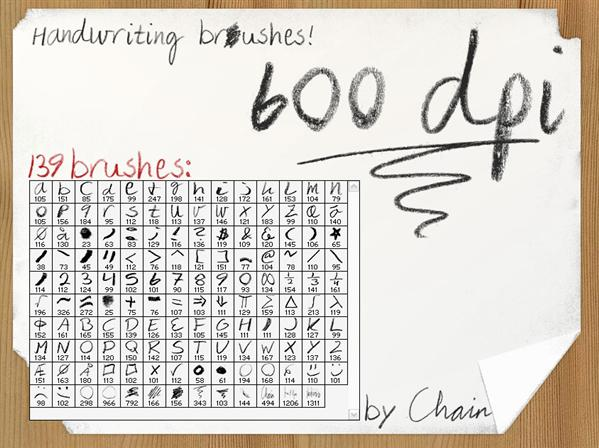 Handwriting Brushes by chain photoshop resource collected by psd-dude.com from deviantart