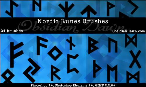 Nordic Runes Photoshop Brushes by redheadstock photoshop resource collected by psd-dude.com from deviantart