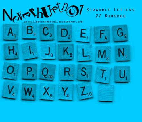 Scrabble Letters Brushes by neverhurtno1 photoshop resource collected by psd-dude.com from deviantart