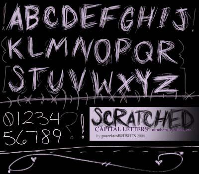 SCRATCHED lettersetc by porcelainBRUSHES photoshop resource collected by psd-dude.com from deviantart