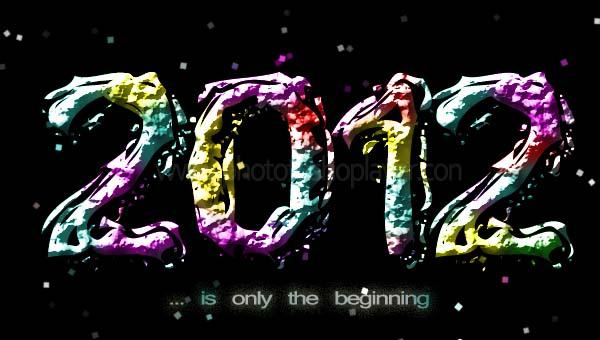 Creating asteroid text in photoshop for New Year 2012