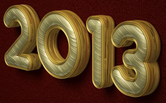 Create a 2013 New Year Text with 3D Golden Effect in Photoshop cs6