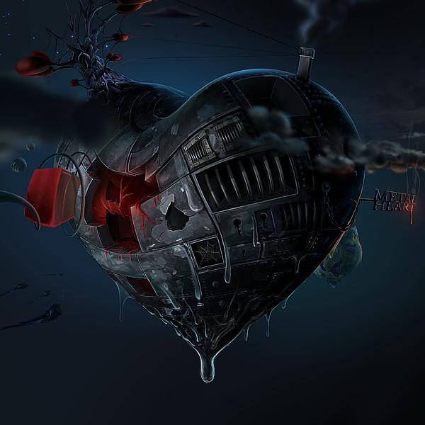 Metal Heart by David Fuhrer; photoshop resource collected by psd-dude.com from Behance Network
