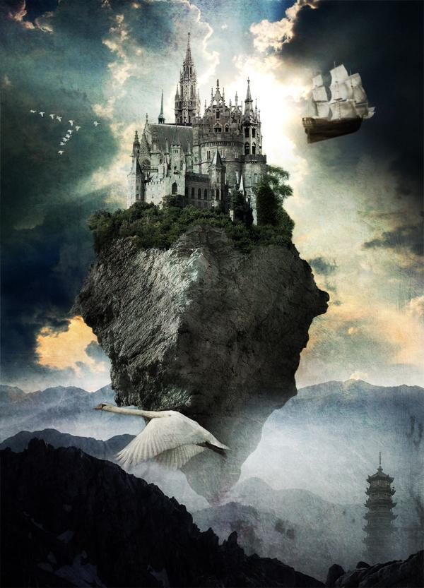 Flying Castle by Mondelfe photoshop resource collected by psd-dude.com from deviantart