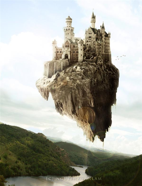 Flying Castle by nxlam1801 photoshop resource collected by psd-dude.com from deviantart
