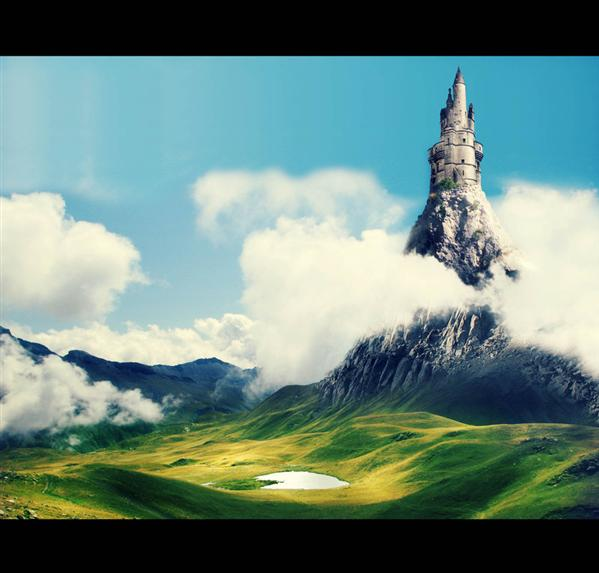 The Castle which touch the sky by ramoneuse-de-menhirs photoshop resource collected by psd-dude.com from deviantart