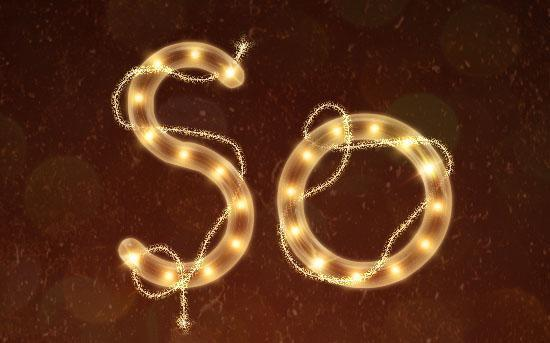 Bright rope light Photoshop text effect as Christmas decoration