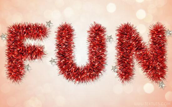 Bright Tinsel Photoshop Christmas Text Effect