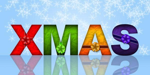 Christmas wrapped Photoshop text effect