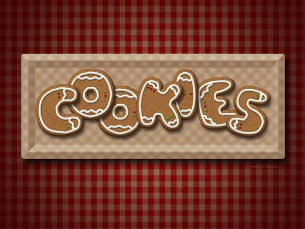 Gingerbread cookies Photoshop text effect